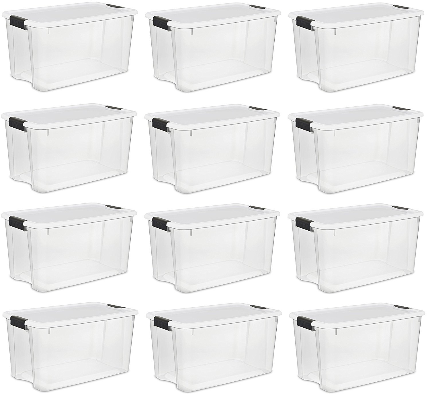 Sterilite 30 Quart/28 Liter Ultra Latch Box, Clear with a White Lid and Black Latches, 12-Boxes