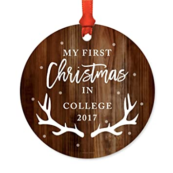 Christmas Gifts For College Students 2019.Andaz Press Graduation University Student Metal Christmas Ornament My First Christmas In College