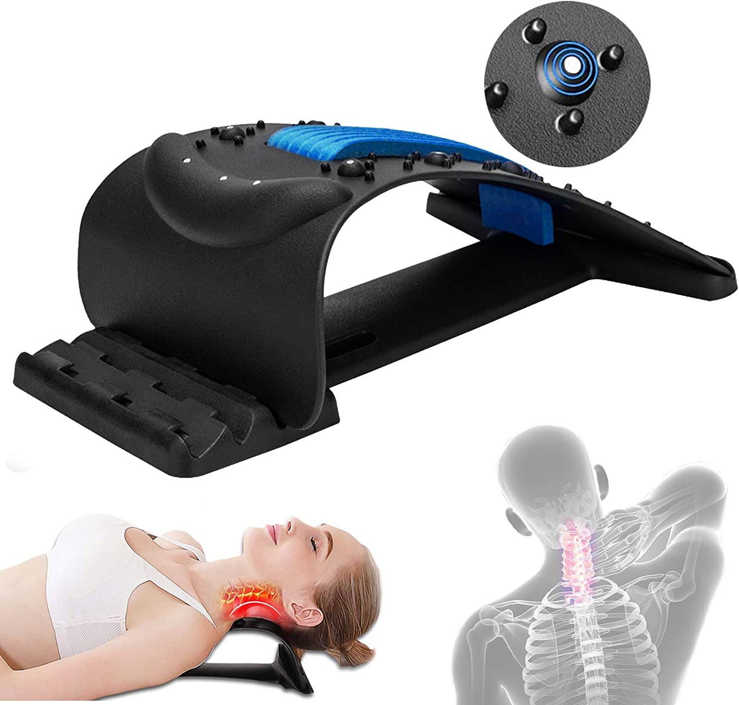 Neck Stretcher, Lumbar Back Pain Relief Device,Shoulder & Neck Relaxer Adjustable Cervical Neck Traction Device