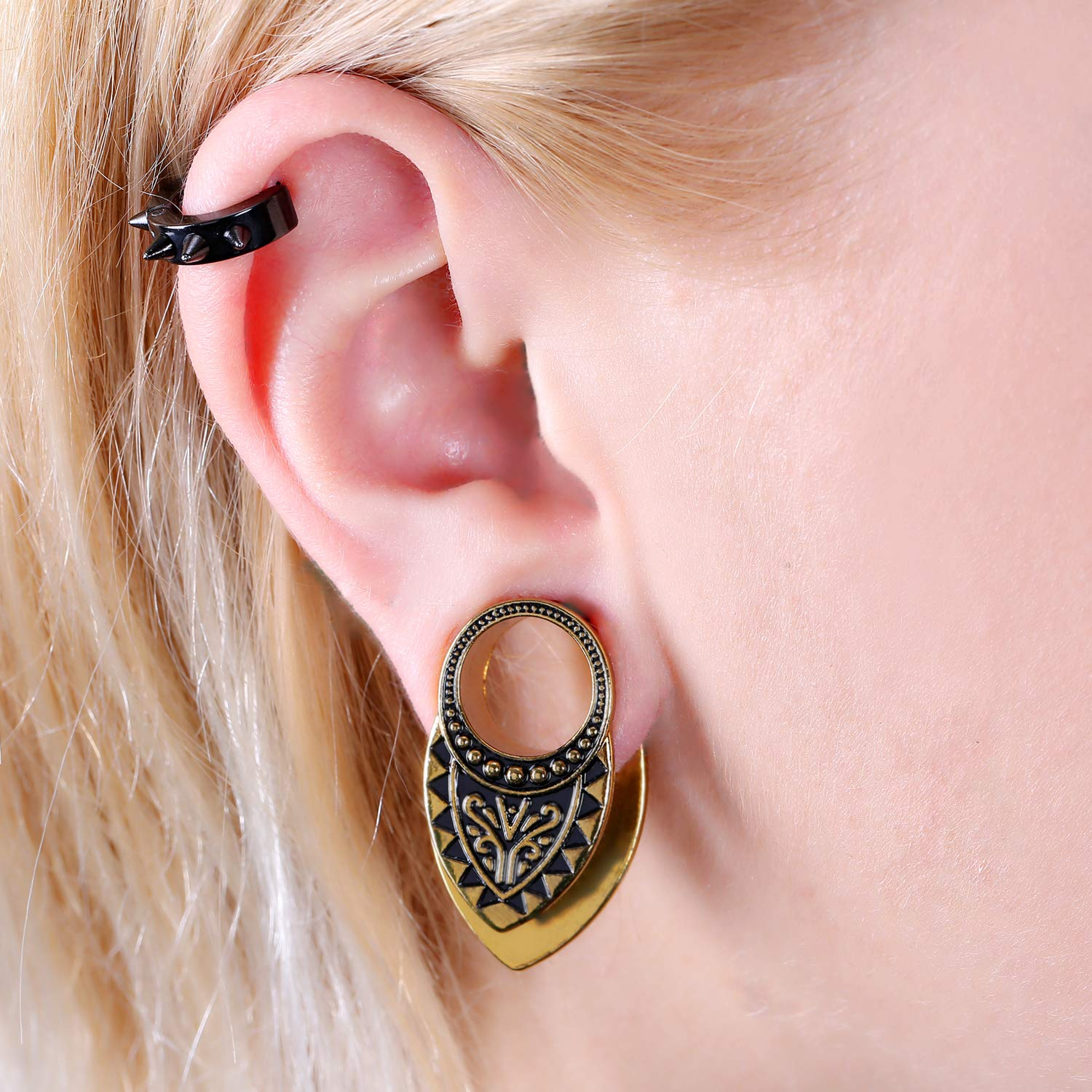 COOEAR Ear Gauges Screw Surgical Steel Plugs Flesh Stretchers Earrings Size 2g to 30mm Colorful Tunnels.