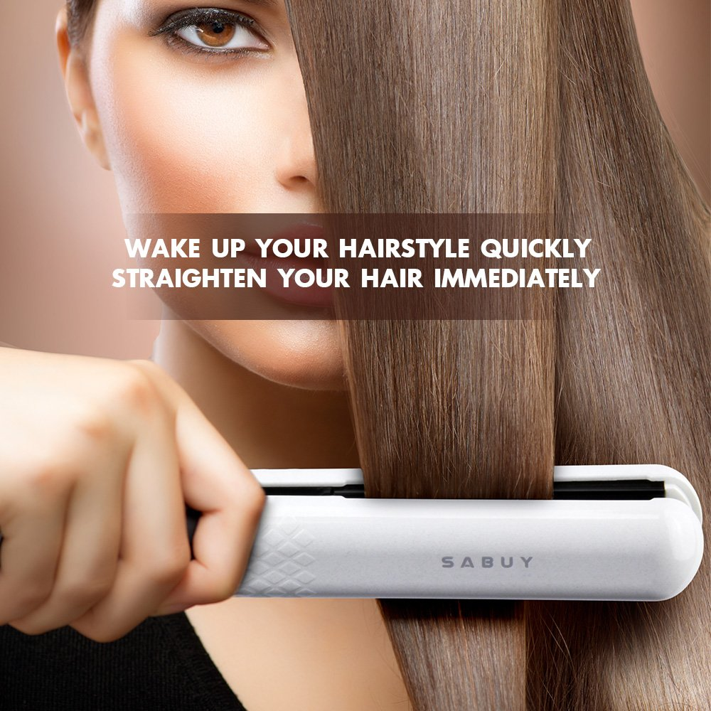 SABUY Ceramic Flat Iron for Hair, Professional 1 Inch Hair Straightener, Dual Voltage for Worldwide Traveling, White by Sabuy (Image #7)