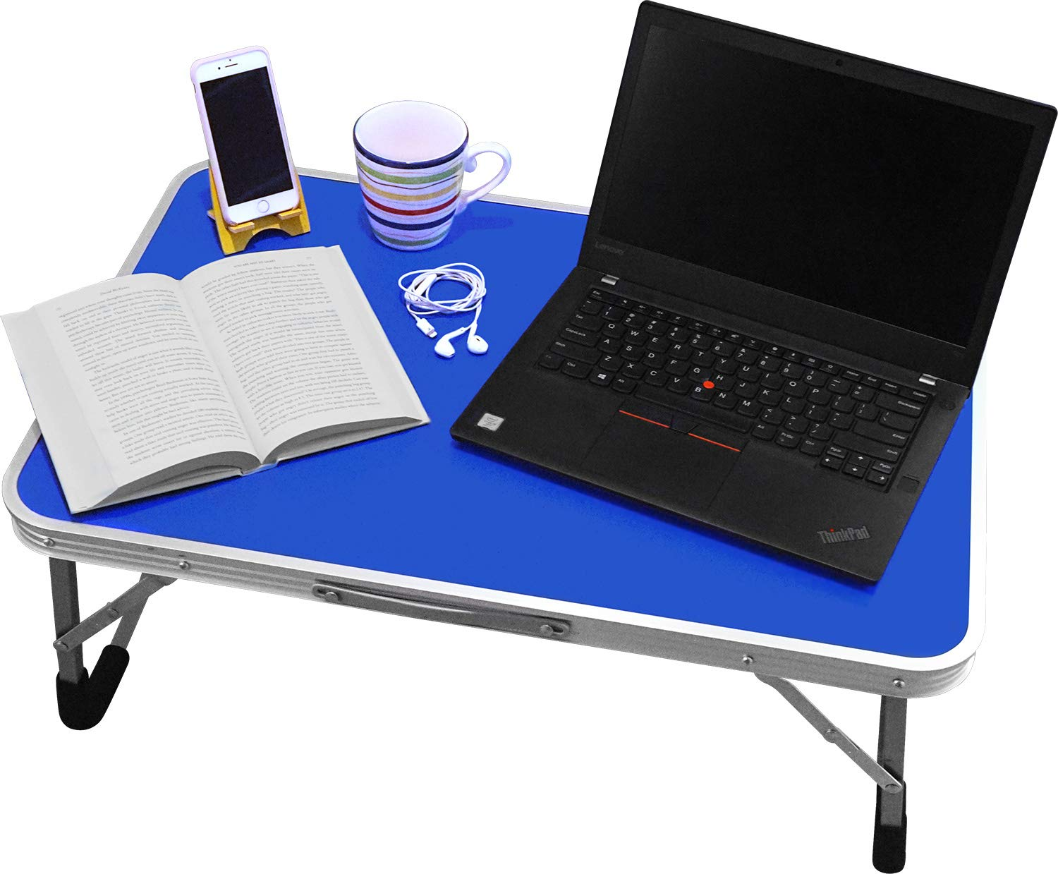 Extra Large Folding Desk Tray - Featuring Locking Foldable Leg Design and Carry Handle - for use in Bed, Computer, Picnic, or Kids Playtime by BrightCare (Image #2)