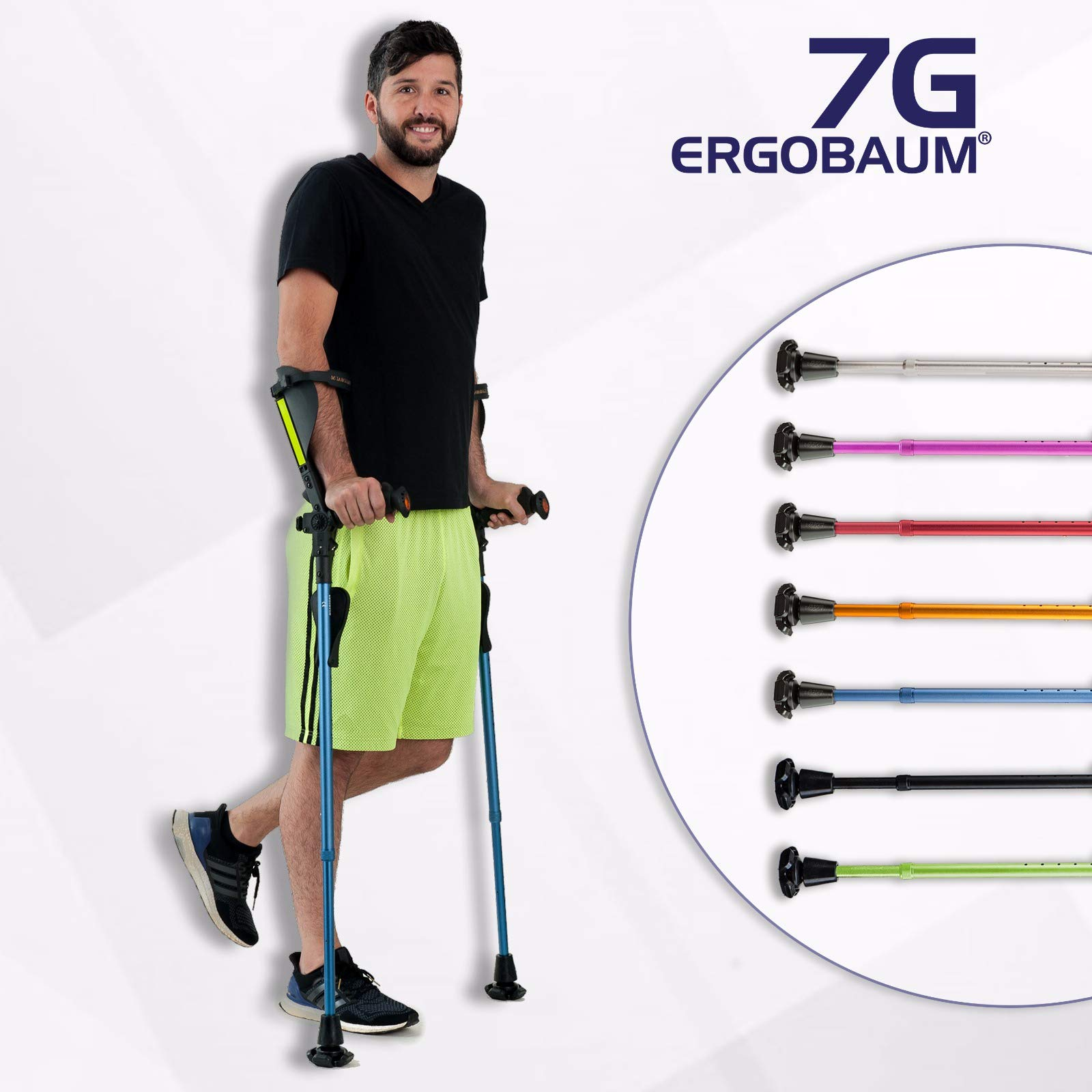 Ergobaum¨ Prime 7TH Generation by Ergoactives. 1 Pair (2 Units) of Ergonomic Forearm Crutches - Adult 5' - 6'6'' Adjustable (Original Black) by Ergoactives,LLC