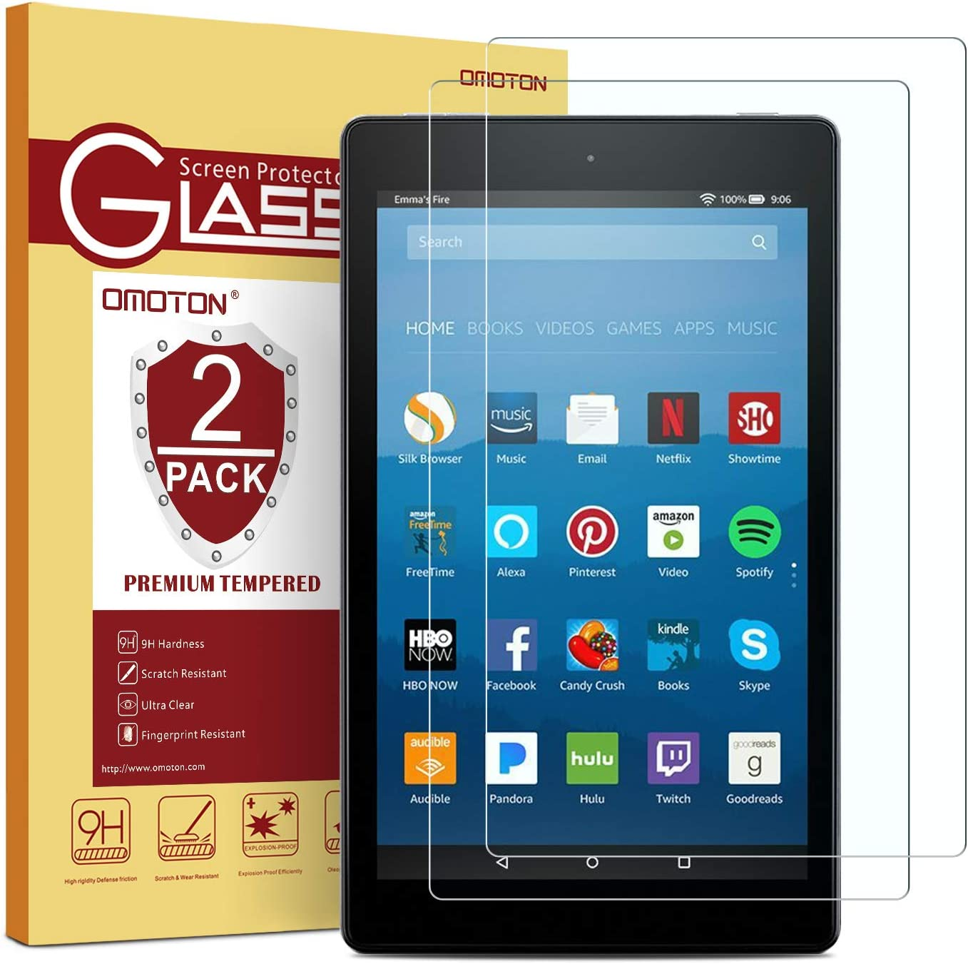 Tempered Glass Screen Protector Film for Amazon Fire HD 10 Tablet 2017 2 Pack