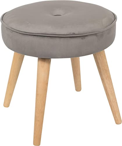 Alannah Padded Soft Round Ottoman Footrest Stool, Button Tufted Polyester Fabric Upholstery Side Table Seat, Vanity Dressing Stool with 4 Pine Wood Legs for Living Room, Bedroom, Small Space Gray