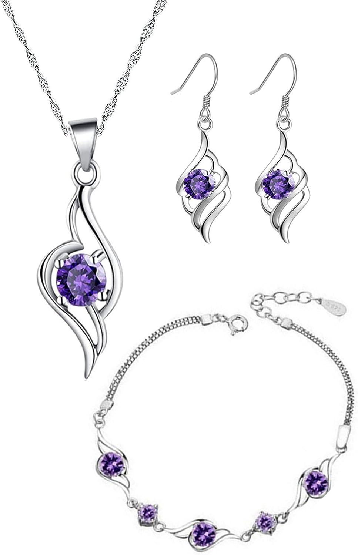 Mujer Juegos de joyas con Circonita Colgante de Ángel Collar y Pendientes y Pulsera Chapado en Oro Plata de ley - Amatista púrpura
