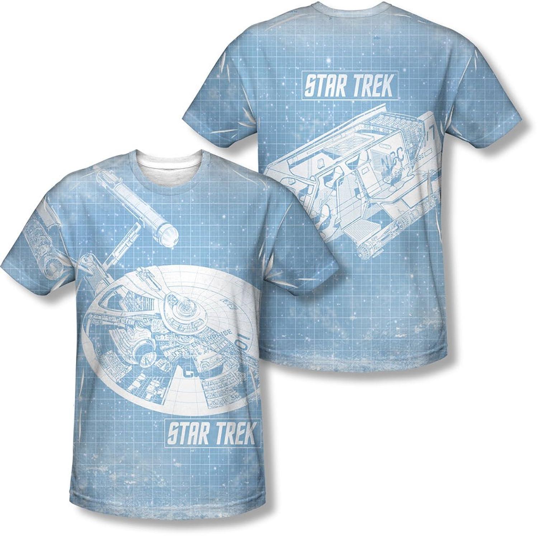 Star Trek - Mens Ships Blueprint (Front/Back Print) T-Shirt