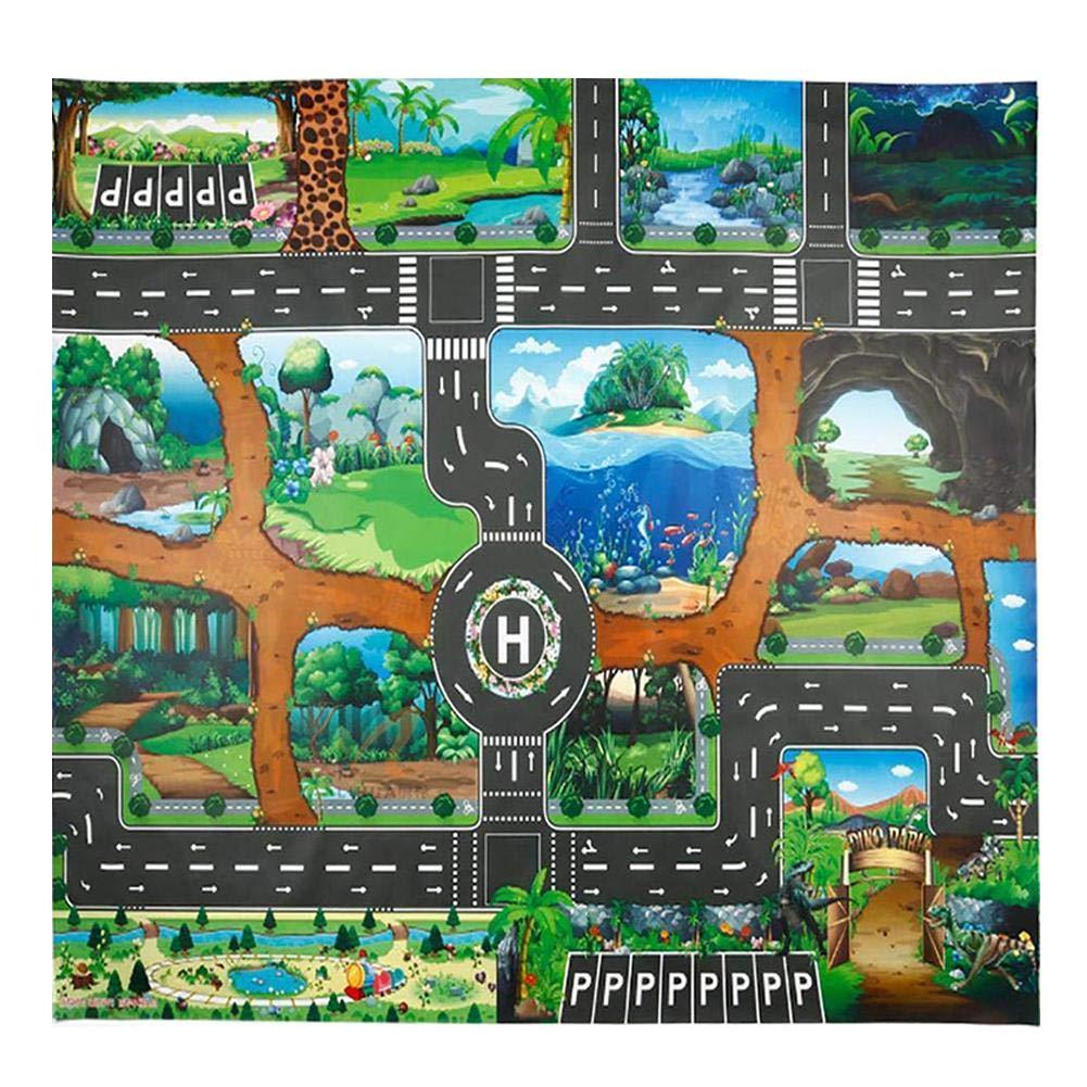 Bloomma Kinderteppich Spielteppich City Life Ideal zum Spielen mit Autos und Spielzeug Spielmatte Autoteppich mit Stra/ßenfitness Zuhause//Kindergarten (Ohne Auto)