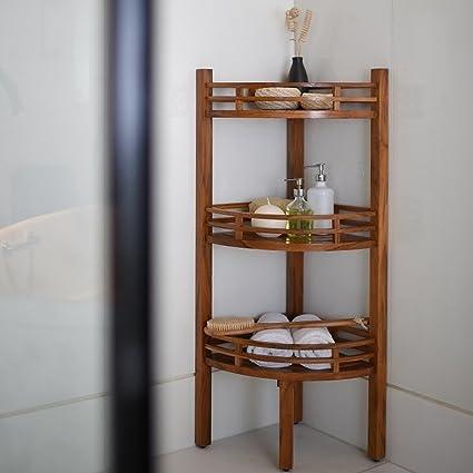 Cuarto de baño Estantería esquinera de madera de teca 107 x 37 x 37 cm