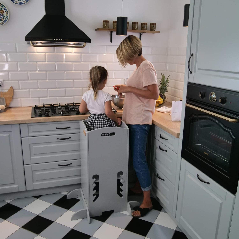 KiddyMoon Tour D/'Apprentissage//D/'Observation Montessori ST-001 Kitchen Helper Contreplaqu/é//Blanc