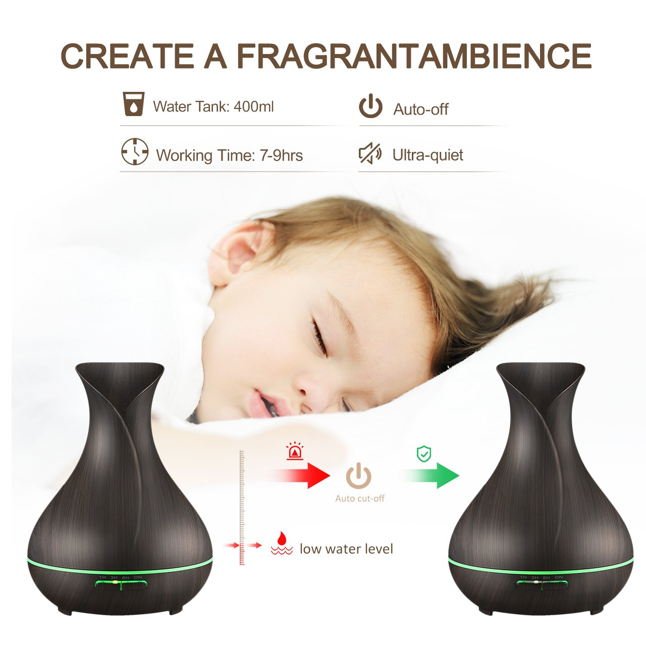 VicTsing 400ml Aromatherapy Essential Oil Diffuser, Ultrasonic Cool Mist Humidifier with Wood Grain Design, 4 Timer Settings for Office, Room, Spa by VicTsing (Image #3)