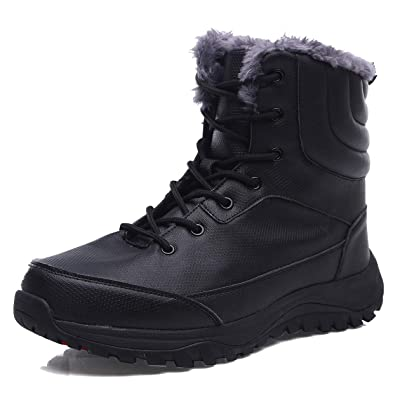EXEBLUE Men's Waterproof Hiking Boot Winter Snow Boots Outdoor Mid Ankle Boots Lace up for Backpacking Working Adventure   Hiking Boots
