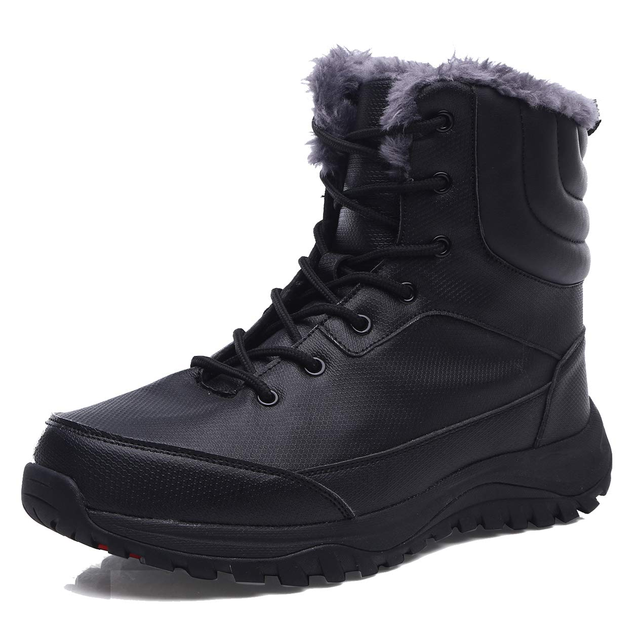 EXEBLUE Men's Waterproof Hiking Boot Winter Snow Boots Outdoor Mid Ankle Boots Lace up for Backpacking Working Adventure Black by EXEBLUE