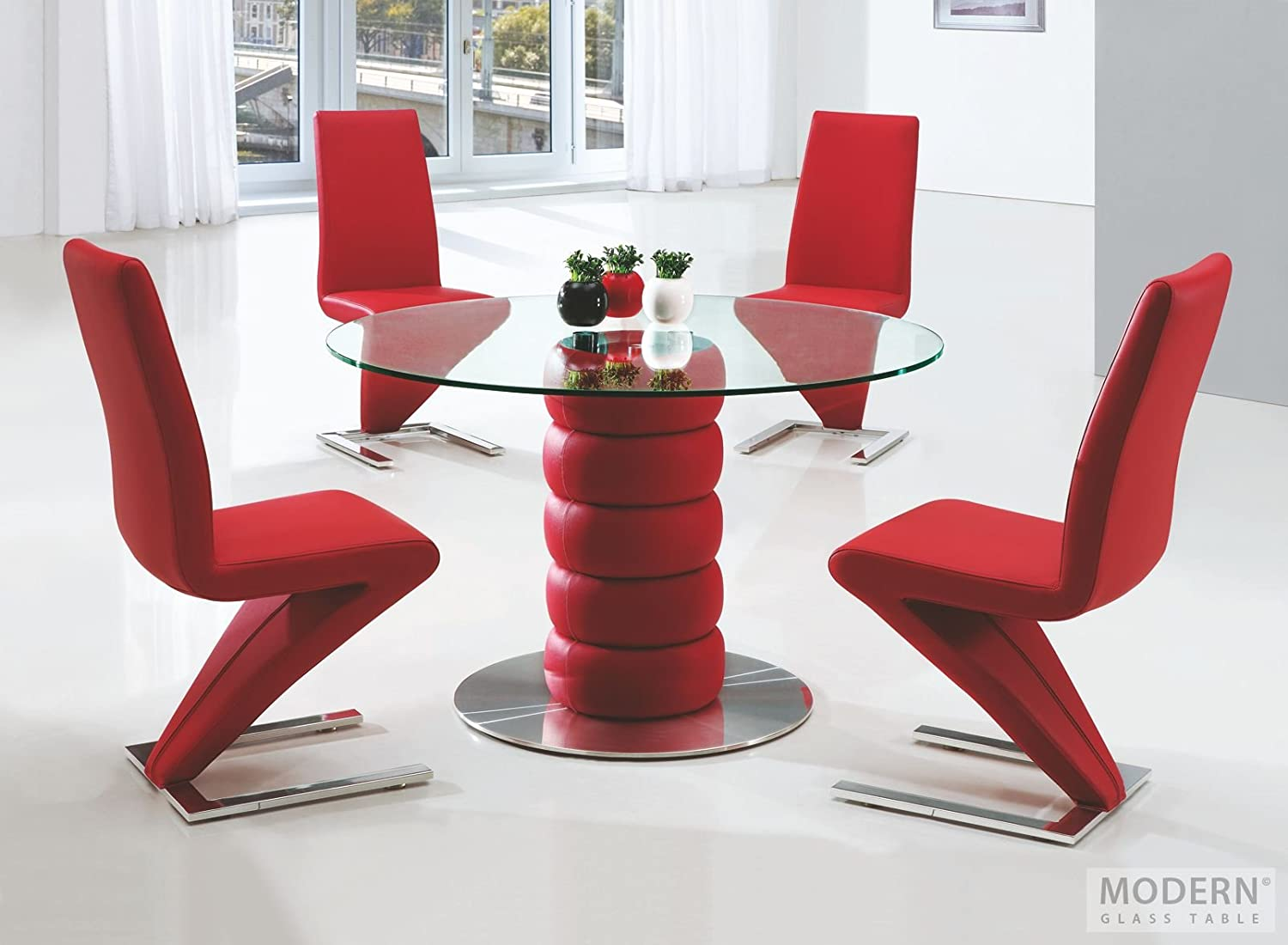 Zeta Round Glass Dining Table With 4 G632 Red Leather Dining Chairs Z Chairs Amazon Co Uk Kitchen Home
