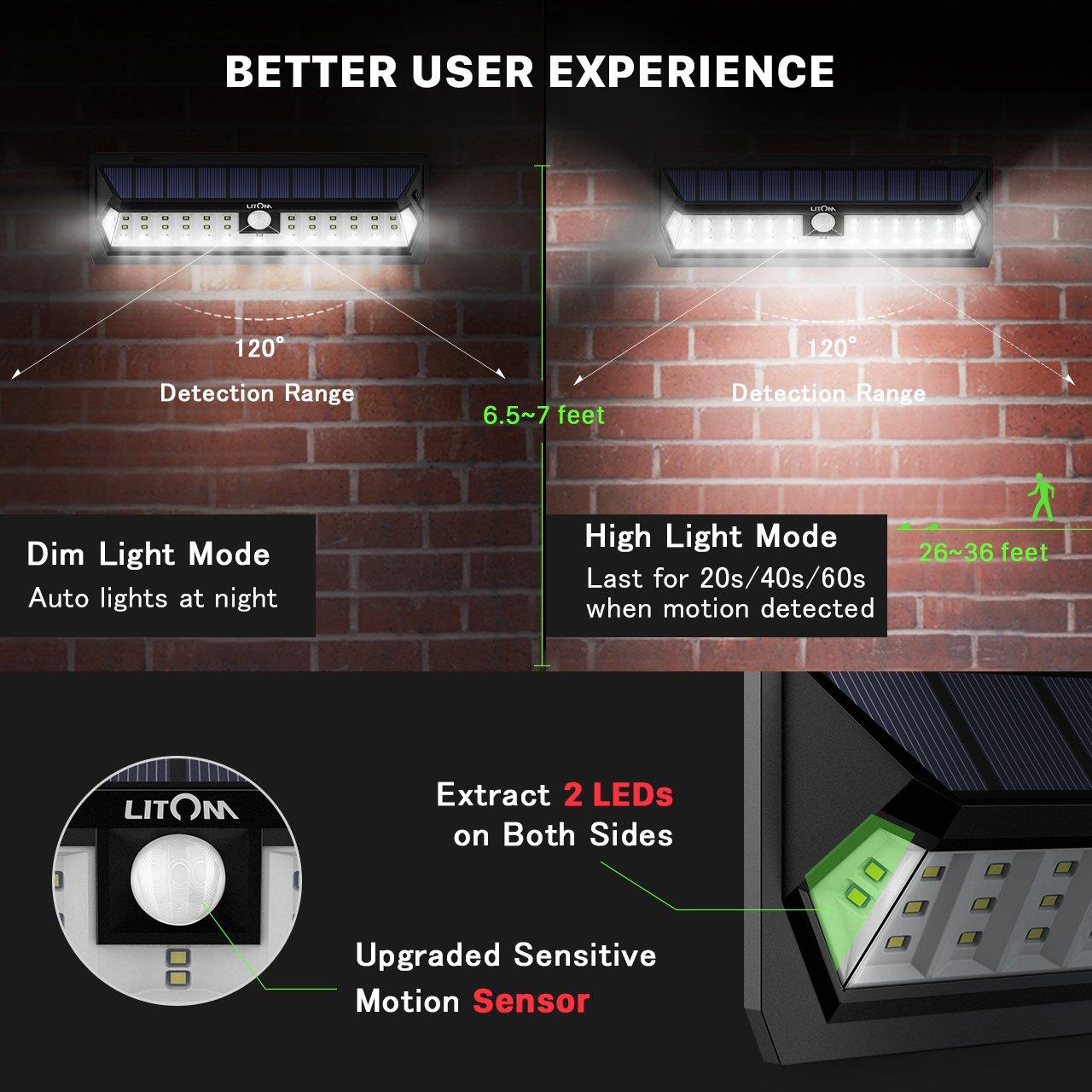 LITOM Solar Lights Outdoor 42 LED, Adjustable Lighting Time Solar Motion Sensor Light with 270° Wide Angle and Waterproof Design, Wireless Solar Lighting for Front Door, Yard, Garage, Deck (2 Pack) by Litom (Image #3)