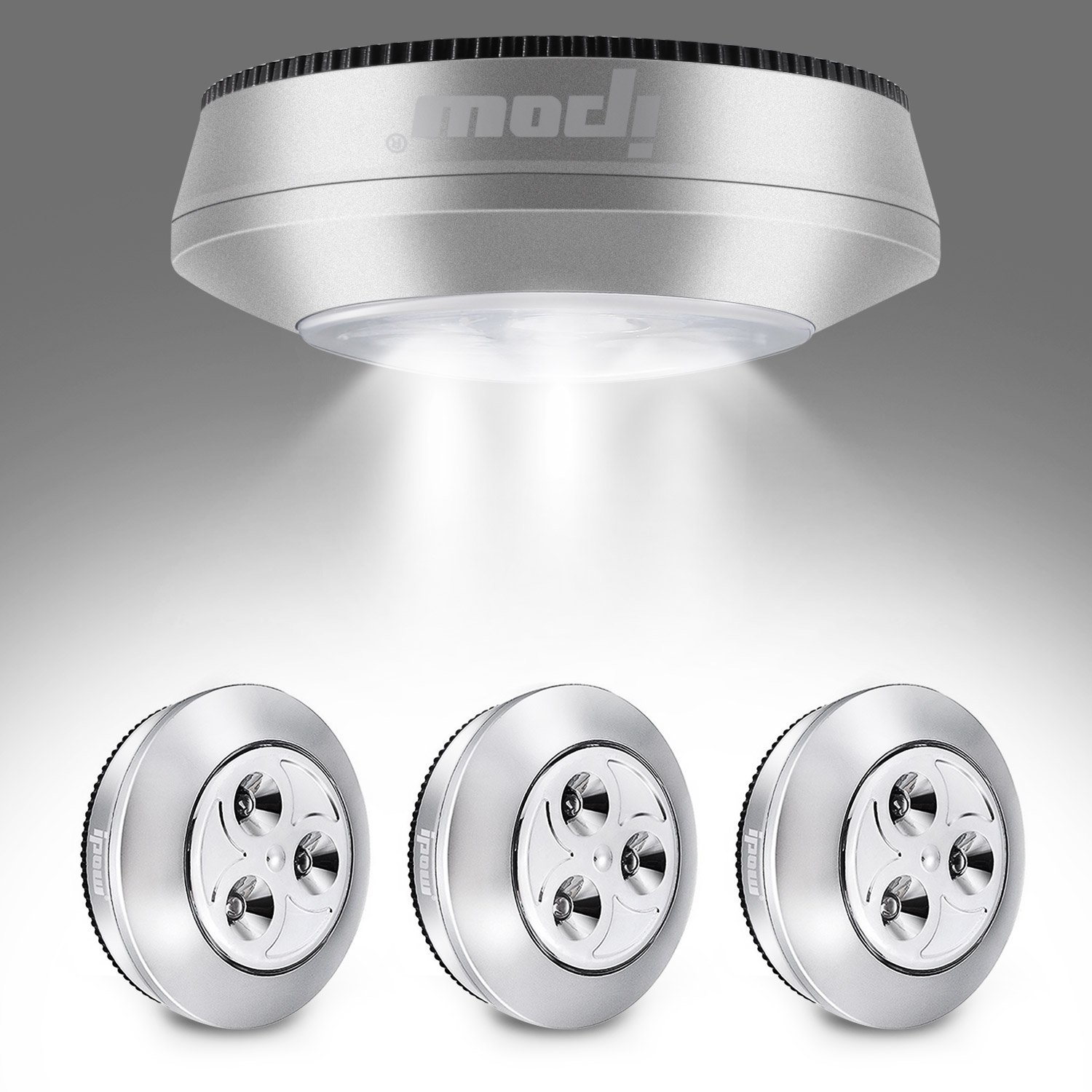 IPOW Tap Lights Stylish UFO Shape | Bright White Daylight LED Battery-powered Night Lights Stick-on Push Lamp for Closets,Wardrobe,Cabinets,Counters,Utility Rooms,Cordless,4 Pack
