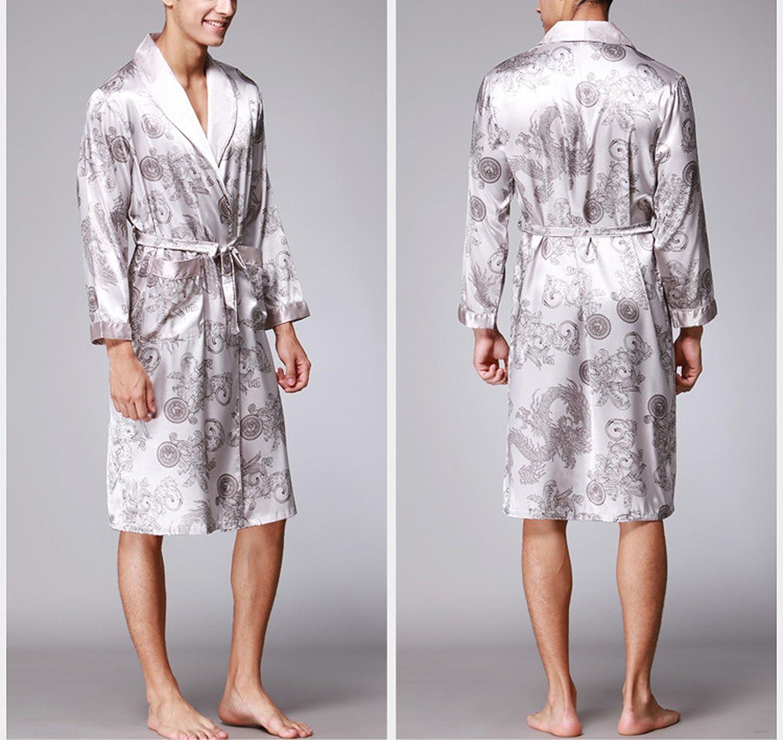 Asskyus La Robe de Kimono de Robe de Sommeil de Satin L/éger des Hommes Peignoir pour Le Long Style des Hommes