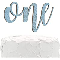 NANASUKO 1st Birthday Cake Topper - one - Double Sided Baby Blue Glitter - Premium Quality Made in USA