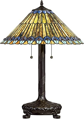 Capulina Tiffany Style Floor Light, Victorian Style Tiffany Pole Lamp, 2 Light Tiffany Floor Lamp, 18 Inches Wide Stained Glass Floor Lamps, Standing Lamp, Leaded Glass Floor Lamp Tall 66 inches