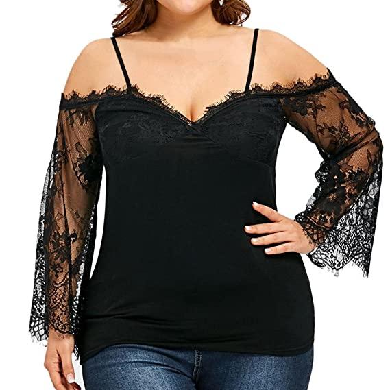Tianranrt Womens Plus Size Black Lace Crochet Batwing Long