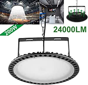 200W Slim UFO LED High Bay Light lamp Factory Warehouse Industrial Lighting Chunnuan,24000 Lumen,6000-6500K,IP54,Waterproof Dust Proof, Warehouse LED Lights- LED High Bay Lighting - (200w Slim)