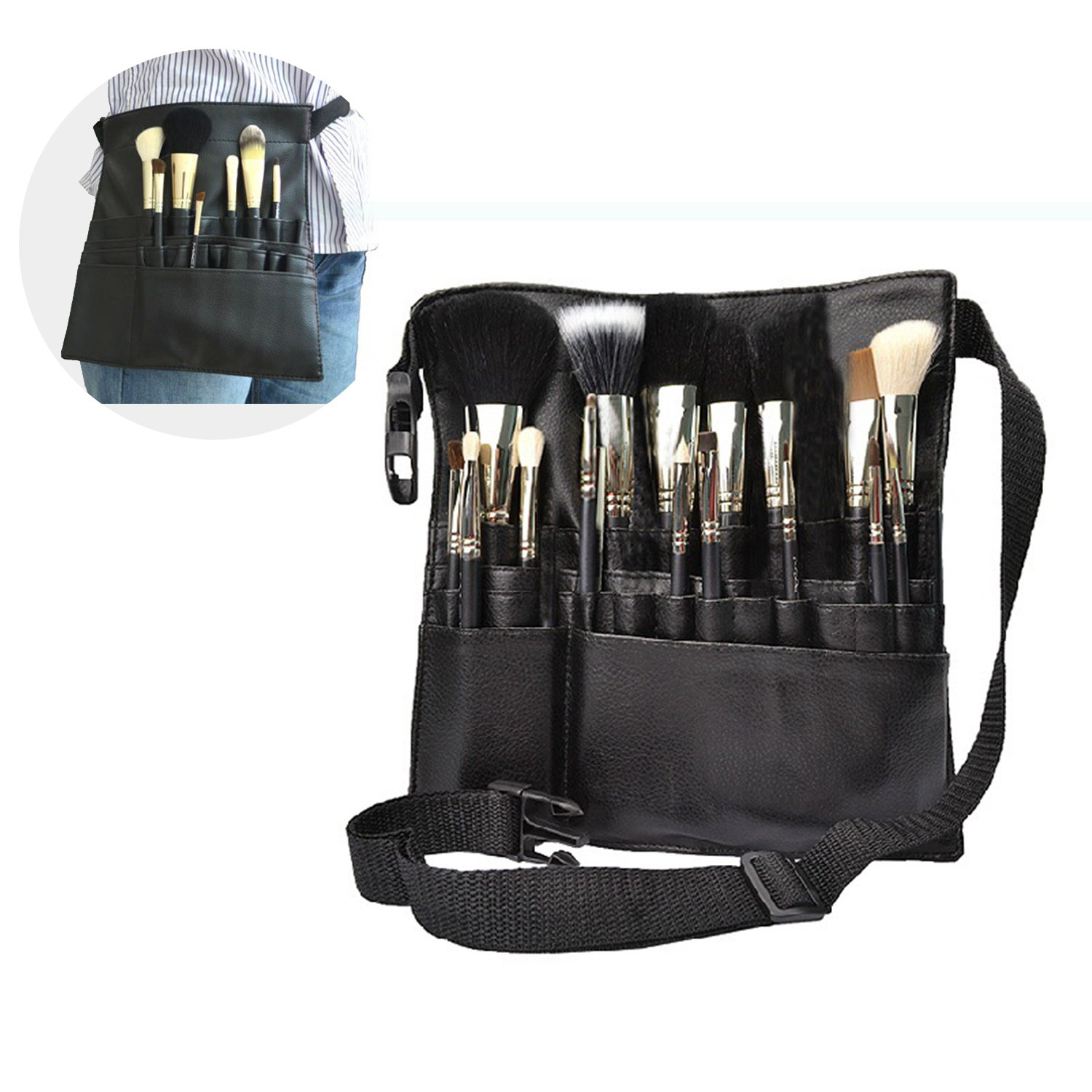Brand New 22 Pockets Artist Professional Makeup Brush Bag Pouch Strap Belt Apron Tool Cosmetic Brush Case Bag The Best Kingdom