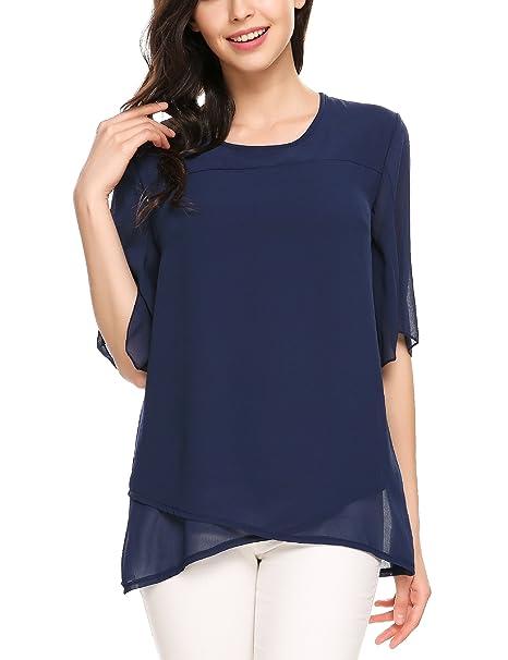9bad9fb5438470 Meaneor Women Casual Chiffon Shirt Loose Half Sleeve Ruffle Asymmetrical Top  Blouse Navy Blue S