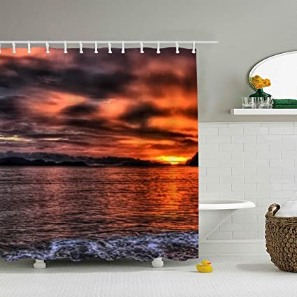 Amazon AyxjlSv Beach Sunset Shower Curtain Mildew Resistant