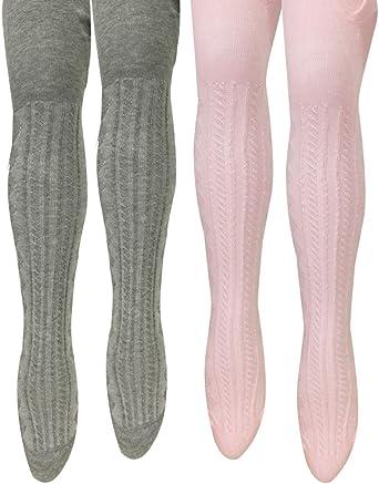 Bowbear 2-Pair Girls Warm Winter Cotton Ribbed Tights