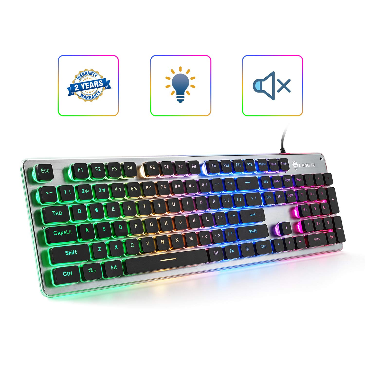 LANGTU Membrane Gaming Keyboard, Colorful LED Backlit Quiet Keyboard for Study, All-Metal Panel USB Wired 25 Keys Anti-ghosting Computer Keyboard 104 Keys – L1 Black Silver