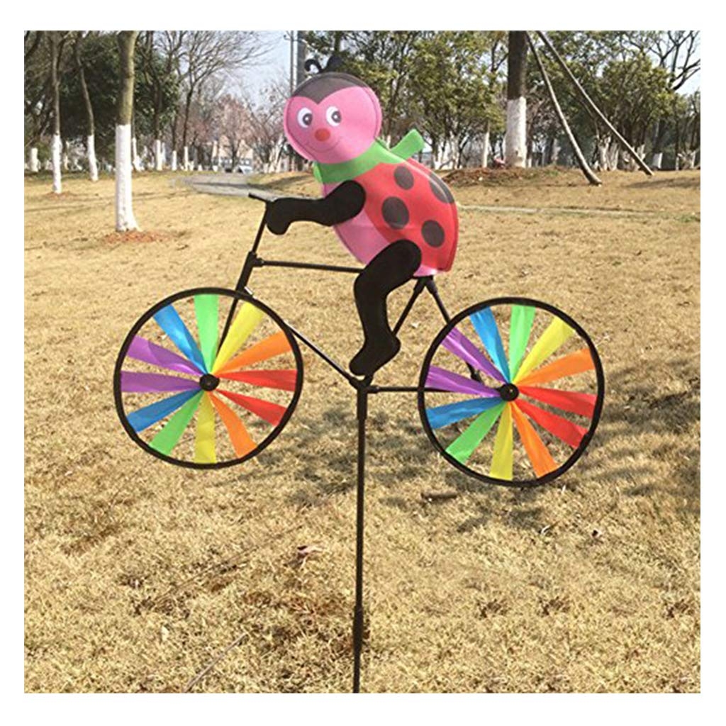 1 Pc Jigang Colorful Windmills Pinwheels Cute 3D Animal on Bike Windmill Child Outdoor Toy Gift Garden Tools Yard Decor for Children to Assemble Bear