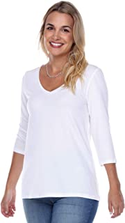 product image for JudyP Blu Women's Core V-Neck 3/4 Sleeve Top (8 Colors)