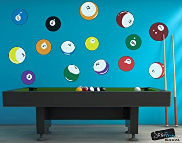 Charming 15 Billiard Balls Wall Decal Stickers Printed Graphic Game Room Decor Vinyl Wall  Art. By