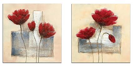 Wieco Art Colore Rosso e Bianco con Fiori Arte Moderna Astratta Stampe su Tela 2 Pannelli Floral Oil Paintings Style Foto-Tela Artistica da Parete con Stampa per FRB2 Decor