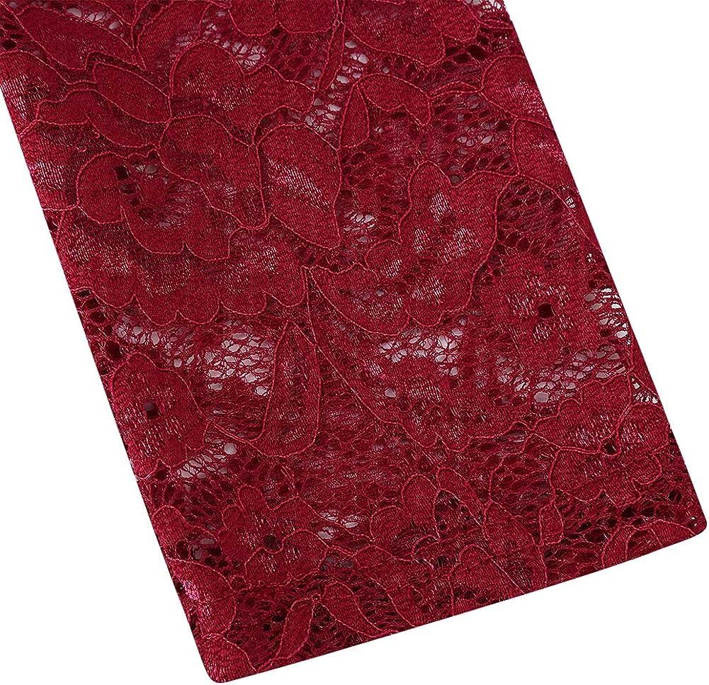 Clearlove Damen Kleider Elegant Spitzenkleid 3//4 /Ärmel Cocktailkleid Rundhals Knielang Rockabilly Kleid(Verpackung MEHRWEG)