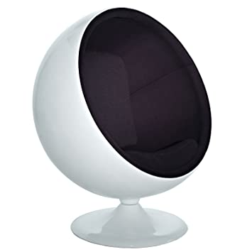 amazon com modway eero aarnio style ball chair in black kitchen