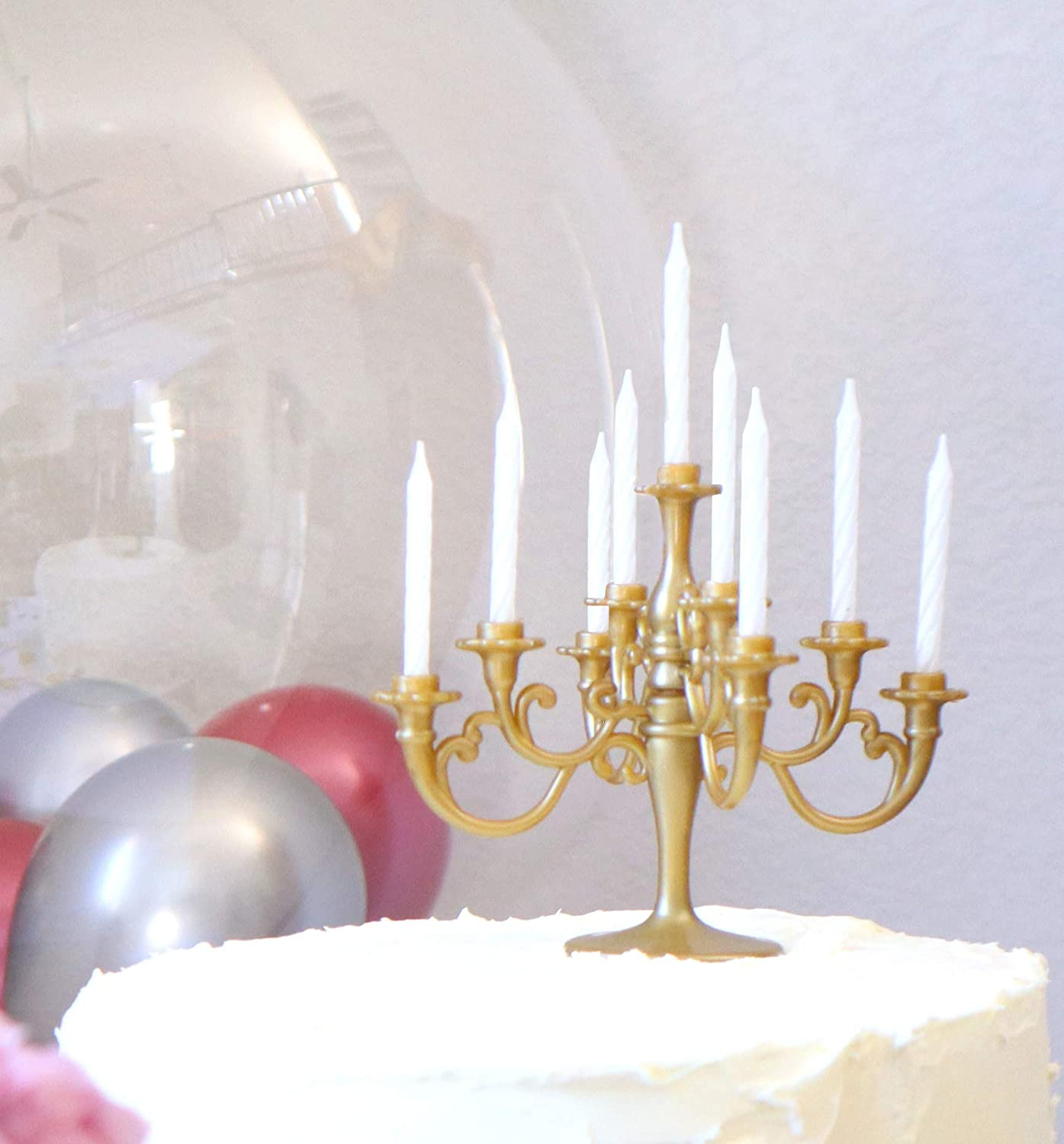 Amazon Com Luxury Candelabra Birthday Candles Special Cake Candles Party And Event Unique Candle Cake Topper With 9 Candles Cake Candle Holders Cake Decorations Romantic Propose Candles Vintage Gold Home Improvement