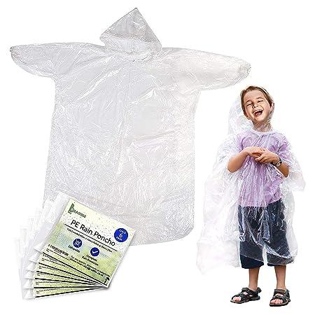 Durchsichtiger und wiederverwendbarer wasserdichter Regenmantel PE Material, Regen resistenter Poncho mit Kapuze und Ärmeln f