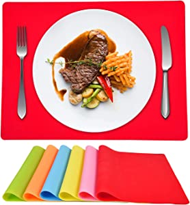 ASPMIZ Silicone Placemats Set of 6, Placemats for Dining Kitchen Table Waterproof, Silicone Placemats Colorful for Kids Baby Toddler Non Slip, Placemats Heat Resistant Silicone (16 x 12 inches)
