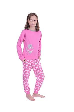 3551b77bb1 Normann Copenhagen Mädchen Kinder Pyjama langarm mit Bündchen und Sternen  Motiv 58409 Schlafanzüge: Amazon.de: Bekleidung