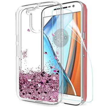 LeYi Funda Motorola Moto G4 / G4 Plus Silicona Purpurina Carcasa con HD Protectores de Pantalla,Transparente Cristal Bumper Telefono Gel TPU Fundas ...