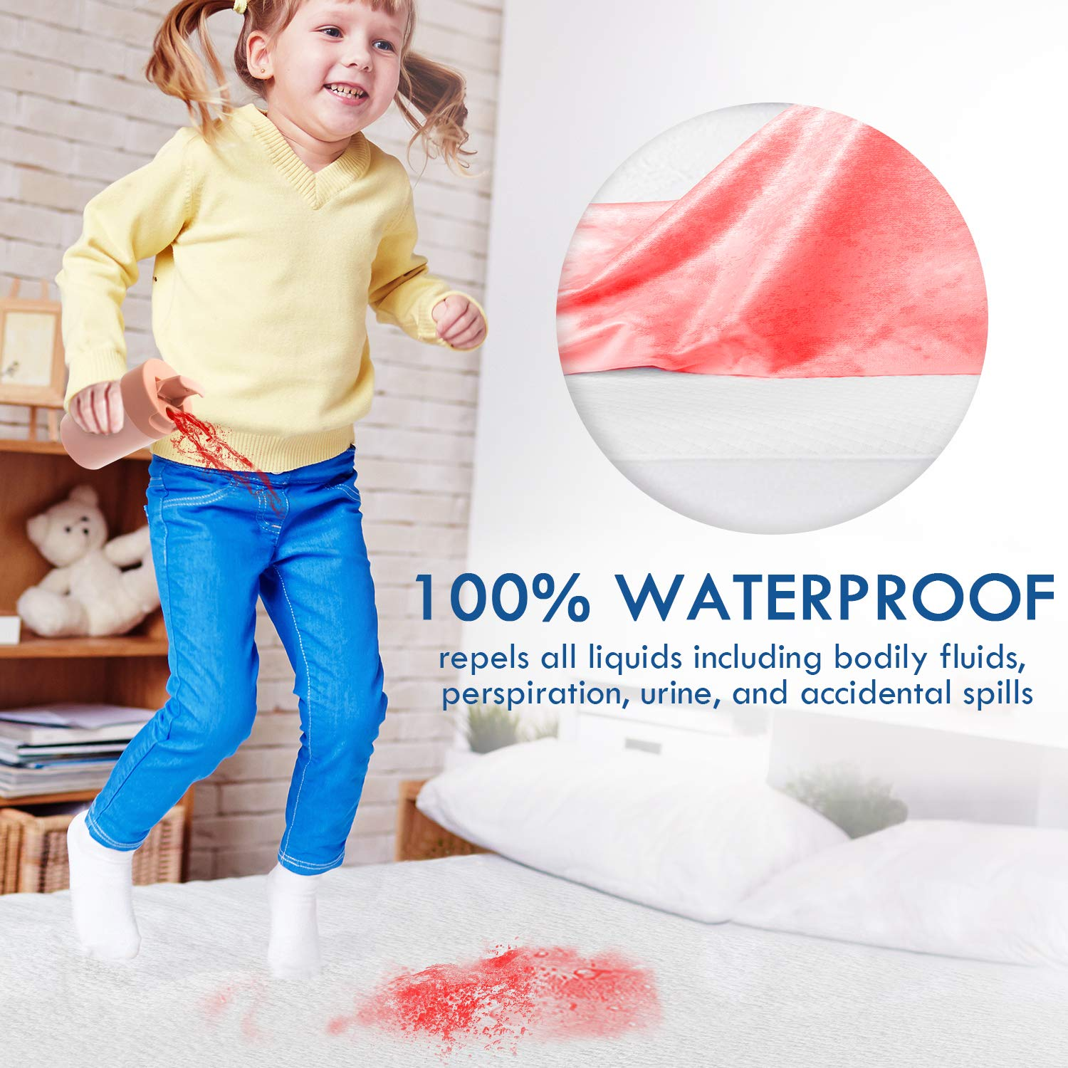 """Zamat Premium 100% Waterproof Mattress Protector, Breathable & Noiseless Mattress Pad Cover, Fitted 14\""""-18\"""" Deep, Vinyl Free, Hypoallergenic 