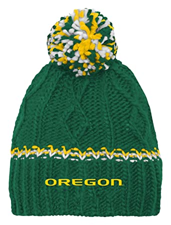 NCAA by Outerstuff NCAA Oregon Ducks Youth Girls Cable Knit Cuffless Hat w   Pom 64d64c01f4b1