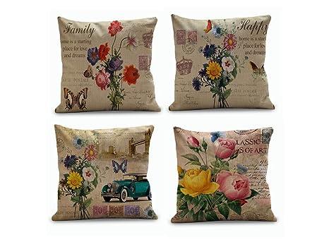 Juego de 4 Vintage Flores Fundas de cojín manta decorativa ...