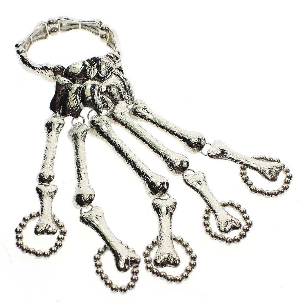 Silver HuntGold 1X Hand Harness Skeleton Skull Finger Bangle Chain Bracelet