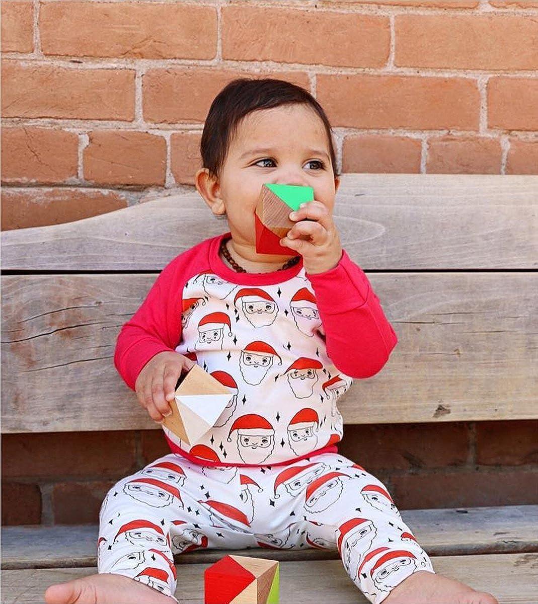 Cenhope Baby Girls Boys Christmas Outfits Santa Print Pajamas Pants Set