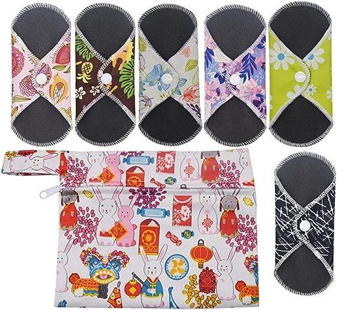 6 Piezas Reutilizables de Carbón de Bambú,Almohadilla Menstrual Reutilizable Compresa,1 Bolsa de Transporte Mini,Suaves y Cómodas (16,5 * 16,5 cm)