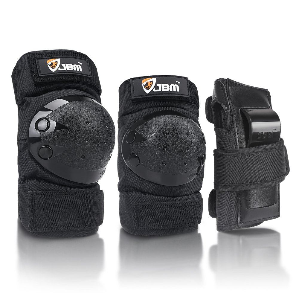 JBM international Adult / Child Knee Pads Elbow Pads Wrist Guards 3 In 1 Protective Gear Set, Black, Youth / Child by JBM international