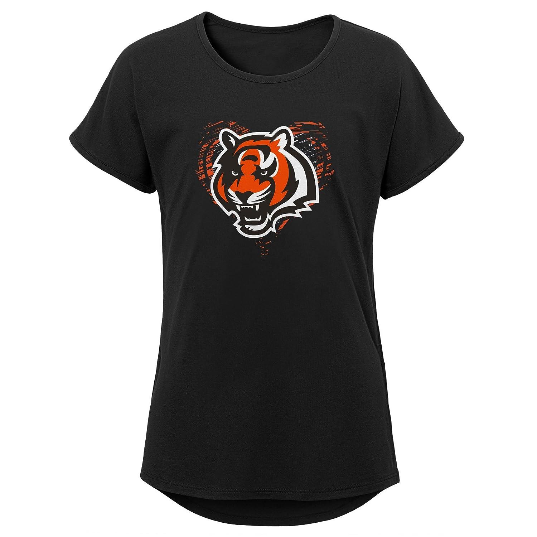 16 Youth X-Large Outerstuff NFL NFL Cincinnati Bengals Youth Girls Sonic Heart Short Sleeve Dolman Tee Black