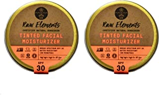 product image for Raw Elements Tinted Facial Moisturizer Certified Natural Sunscreen | Non-Nano Zinc Oxide, 95% Organic, Water Resistant, Reef Safe, Non-GMO, Cruelty-Free, SPF 30+, Reusable Tin, 1.8oz (2-Pack)